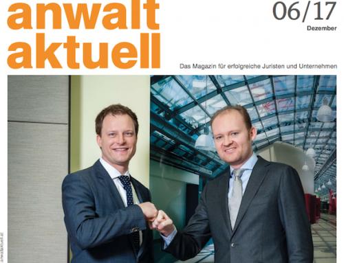 Arthur Stadler & Oliver Völkel am Cover von Anwalt Aktuell!